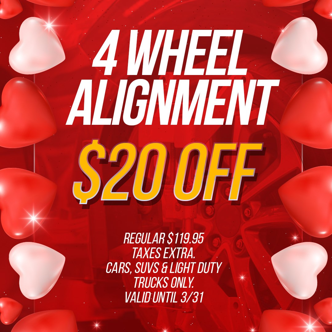 4 wheel alignment $20 off